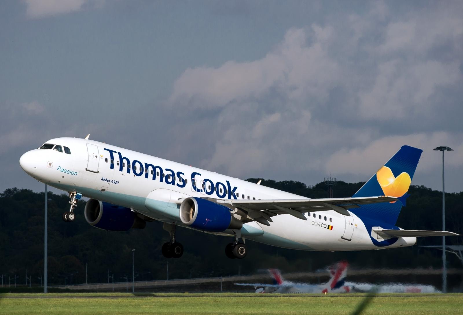 A Thomas Cook flight takes off