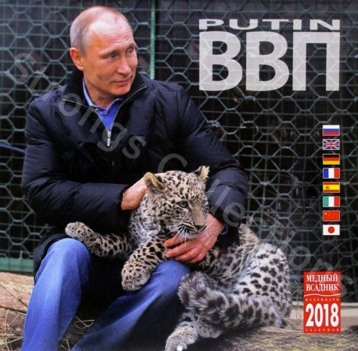 President Vladimir Putin calendar: with a Persian leopard on the front cover
