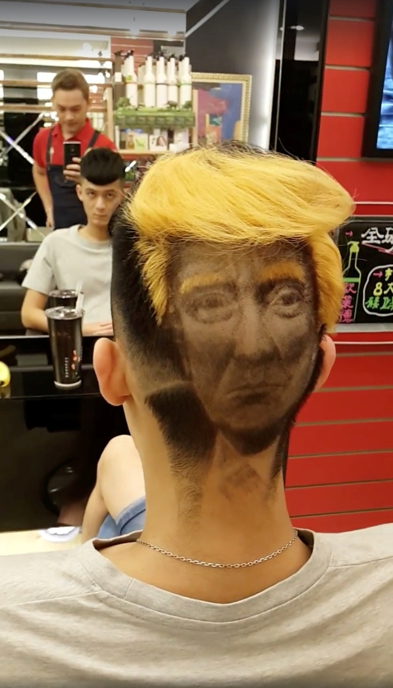Hairdresser Creates Incredible Donald Trump Portrait On Customer S Head