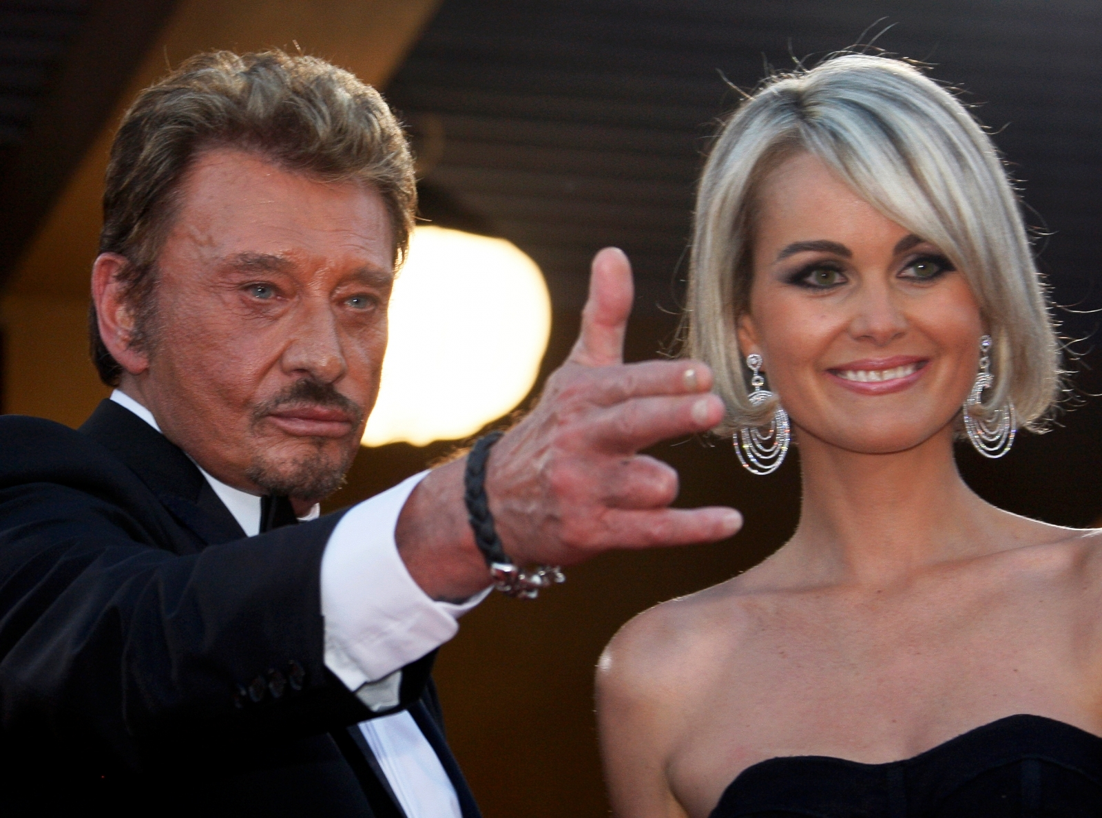 Johnny Hallyday and his wife Laeticia arrive at a screening at the 62nd Cannes Film Festival, in France in 2009