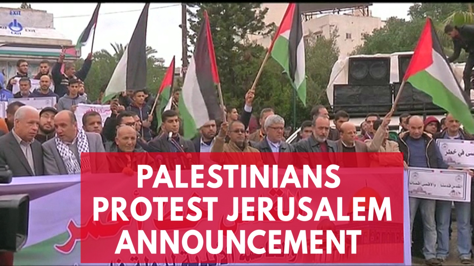 Palestinians burn US and Israeli flags after Jerusalem announcement