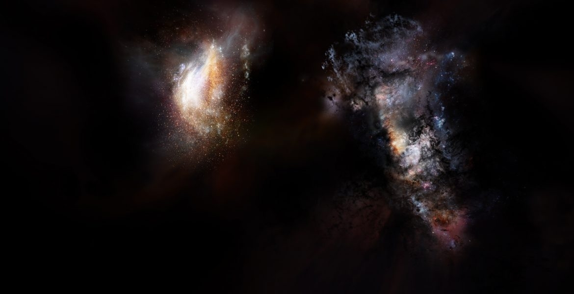 Two interacting early universe galaxies