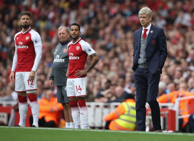 Olivier Giroud, Theo Walcott and Arsene Wenger