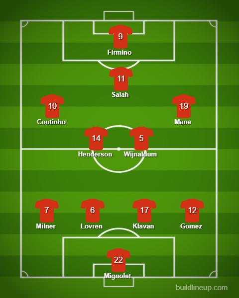 Liverpool XI vs Everton
