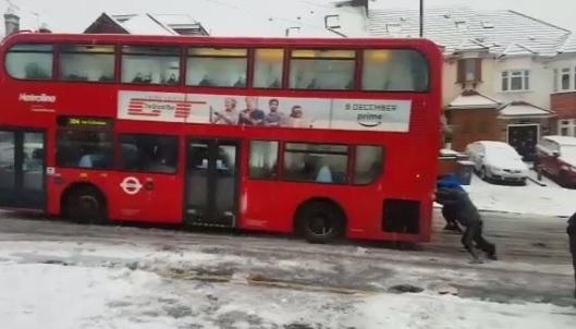 Bus stuck in snow London