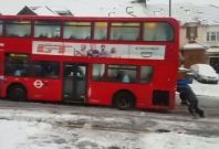 Bus stuck in snow London