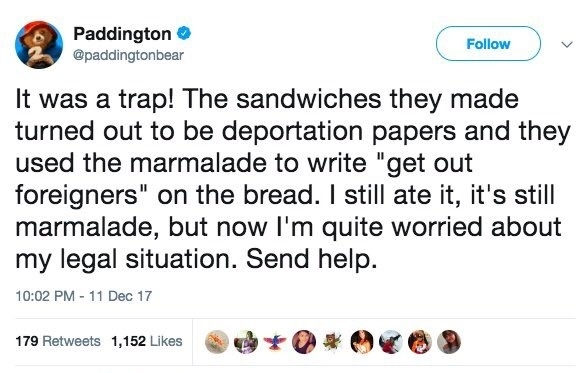 Paddington bear twitter