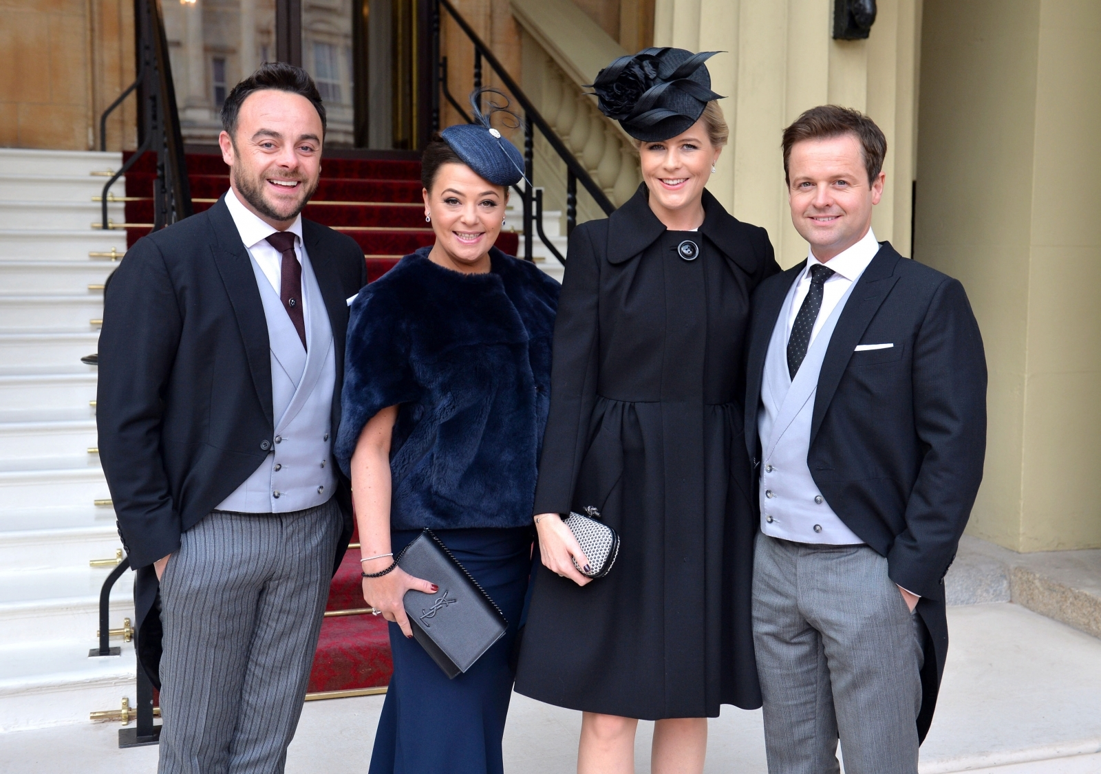 nt and Dec and their wives Lisa Armstrong and Ali Astall arrive at Buckingham Palace, where the pair will be awarded OBEs by the Prince of Wales at an Investiture ceremony on January 27, 2017in London, United Kingdom.