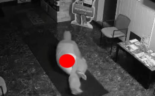 Burglar pants fall off