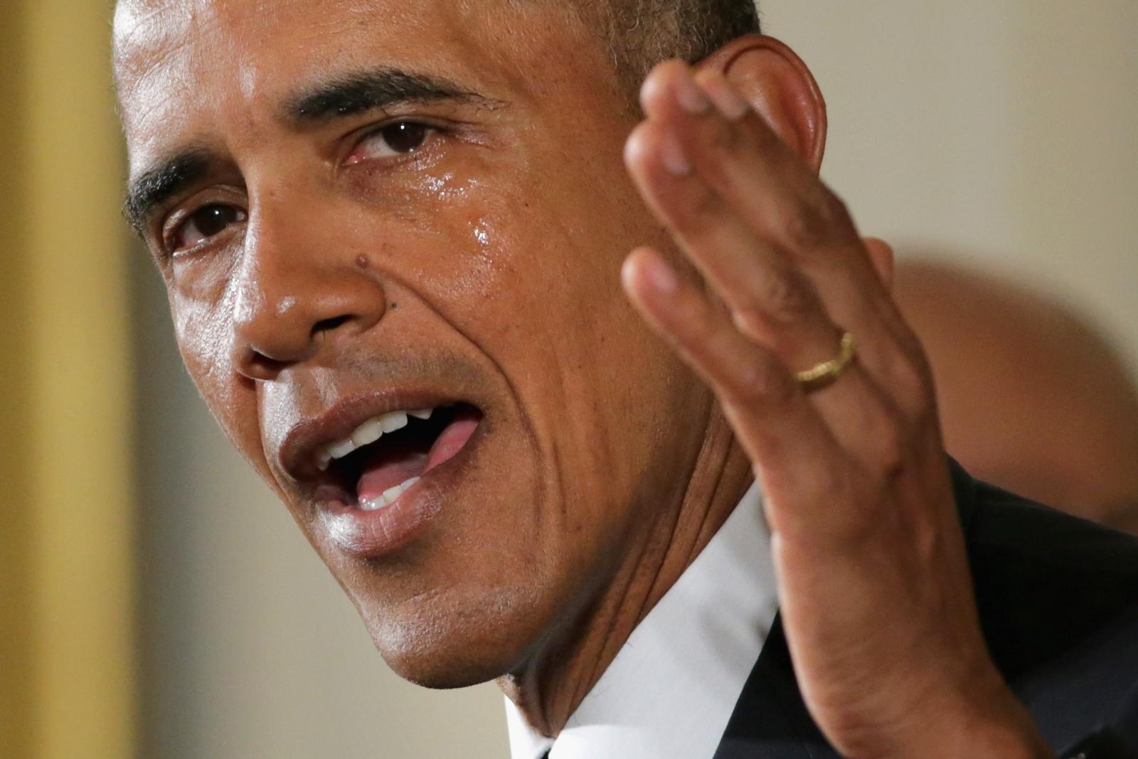 Tearful Barack Obama