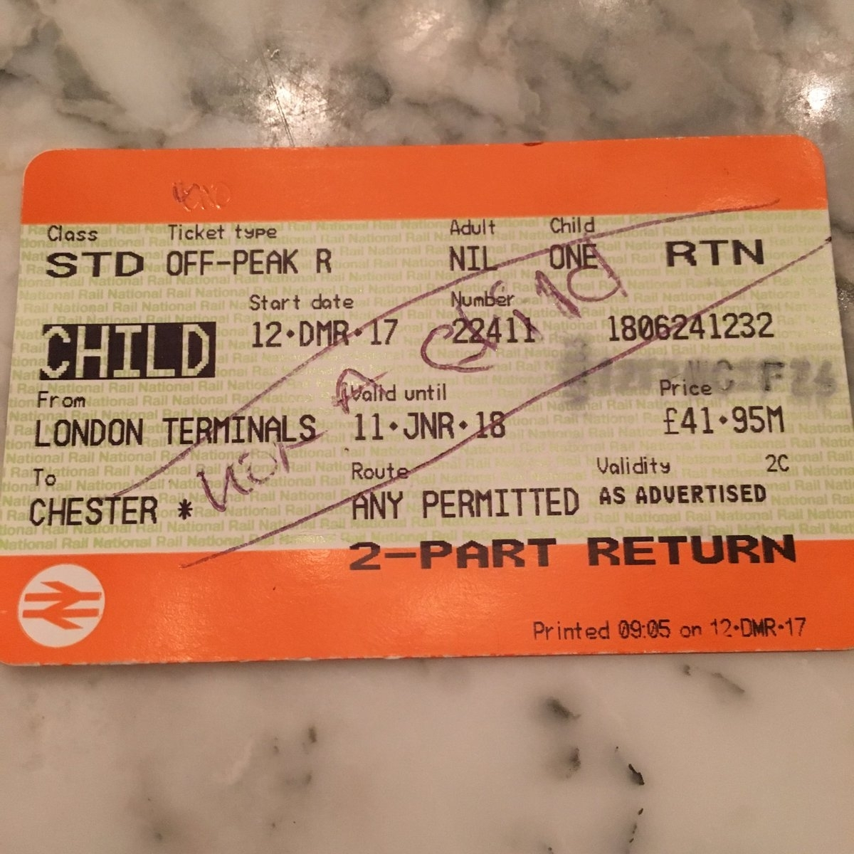 'Not a child' train ticket