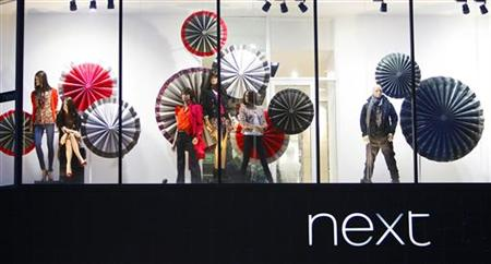 A fashion display is seen in a Next store in Princes Street in Edinburgh, Scotland