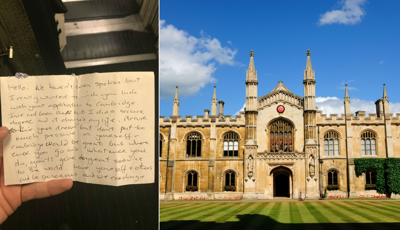 Stranger gives Cambridge Uni hopeful heart-warming letter with money on train: 'Live your dream'