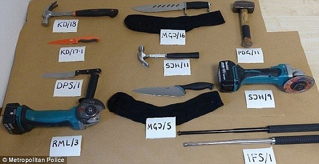 A selection of the tools and weapons the gang they used in the burglaries on the different shops