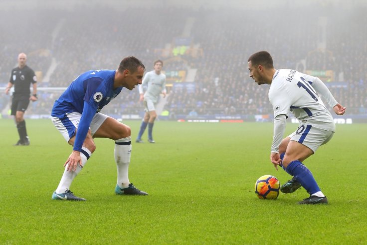 Phil Jagielka and Eden Hazard
