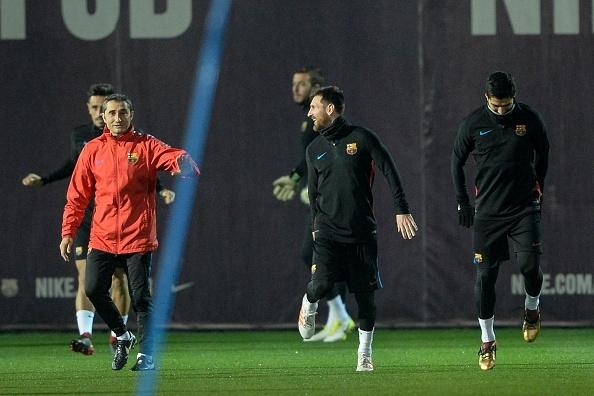 Ernesto Valverde and Lionel Messi