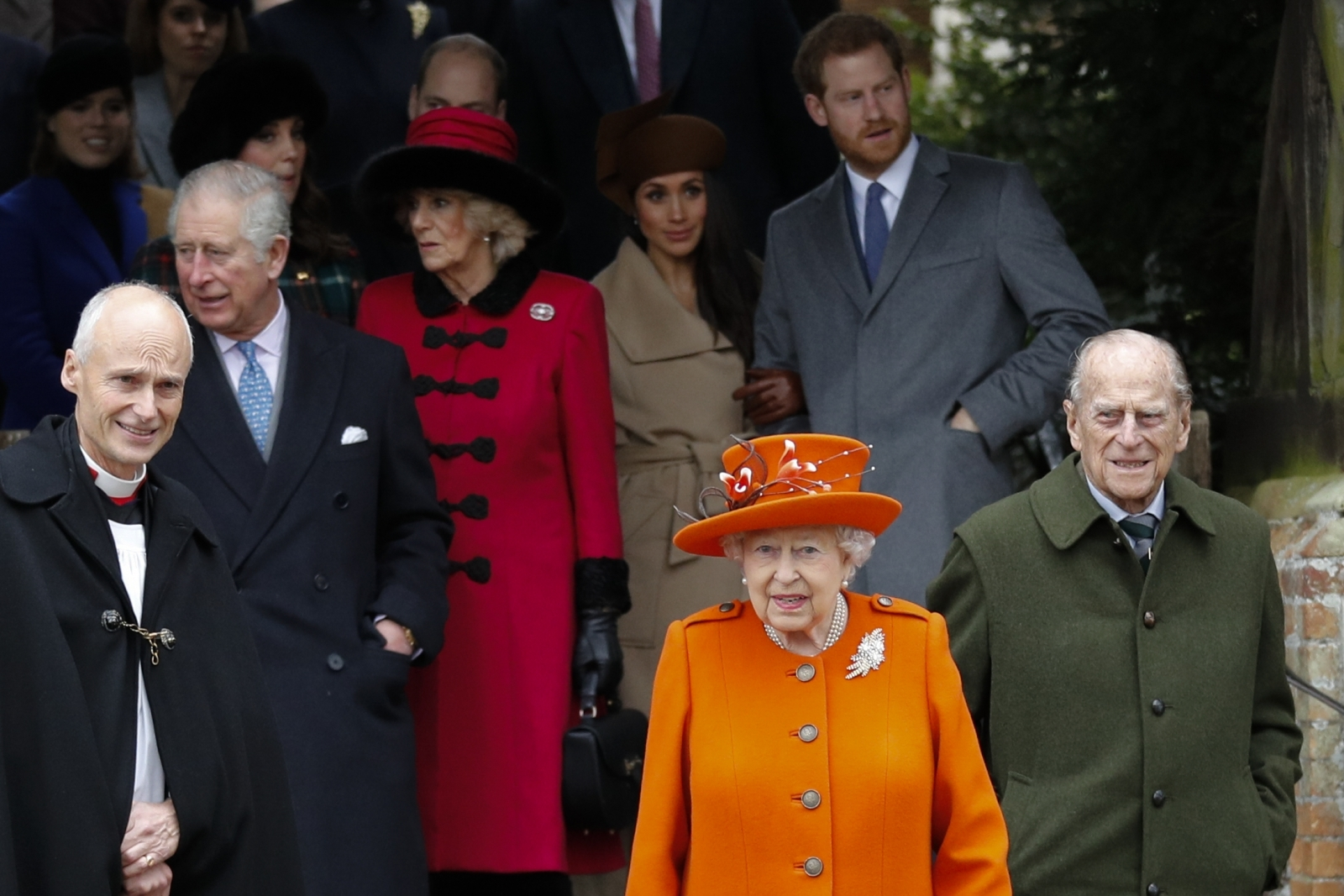 Prince Charles, Prince of Wales, Britain's Camilla, Duchess of Cornwall US actress and fiancee of Britain's Prince Harry Meghan Markle Britain's Queen Elizabeth II Britain's Prince Harry and Britain's Prince Philip, Duke of Edinburgh