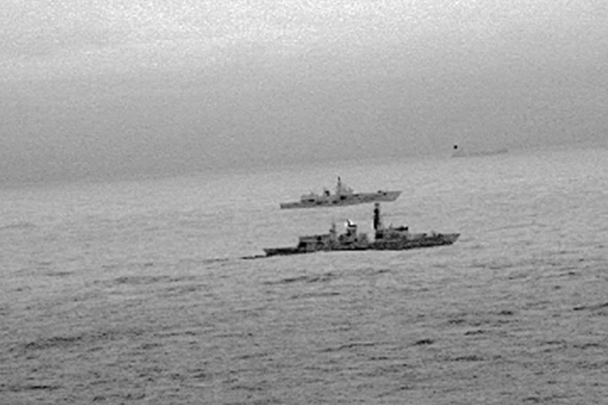 UK frigate and Russian vessel
