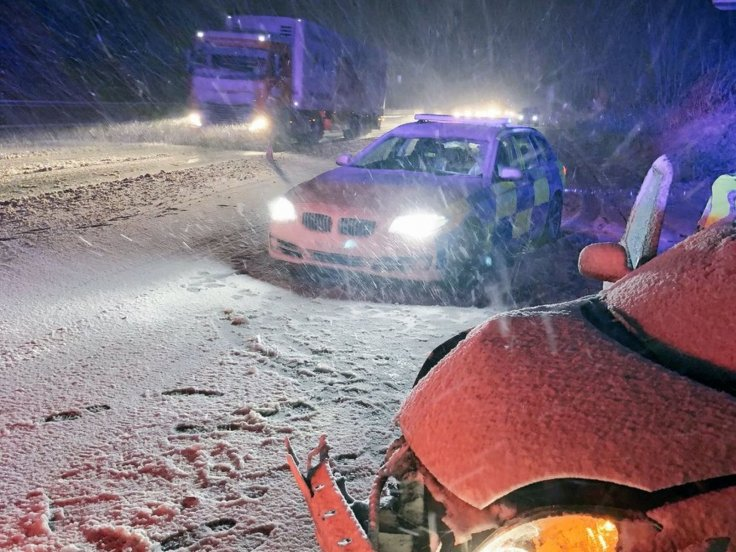 Overnight Snowstorms across the UK has led to traffic accidents and left thousands of homes without power