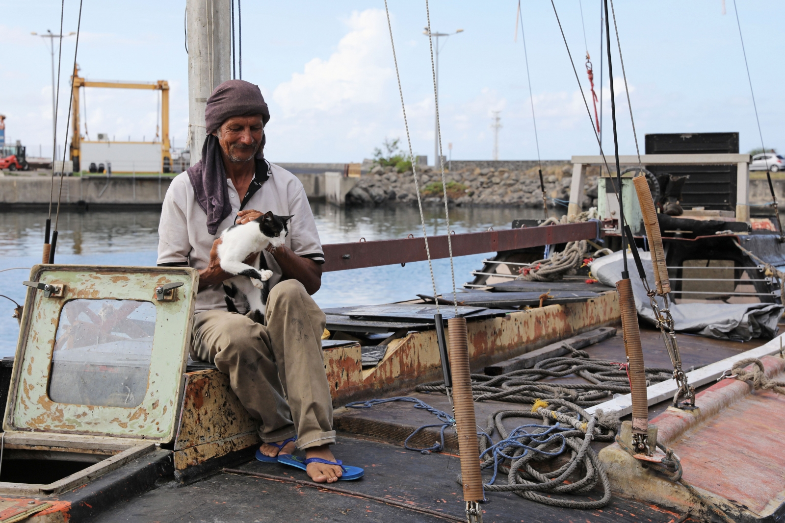 Sailor and cat rescued after seven months stranded in Indian Ocean