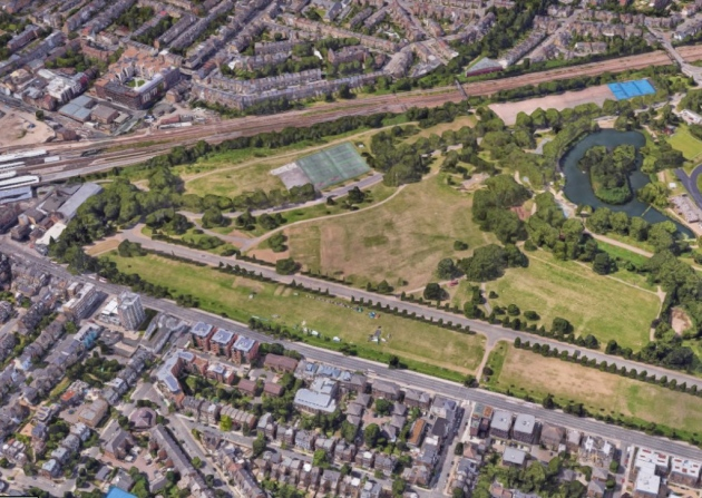 Finsbury Park in north London where the murdered body of a young woman was found