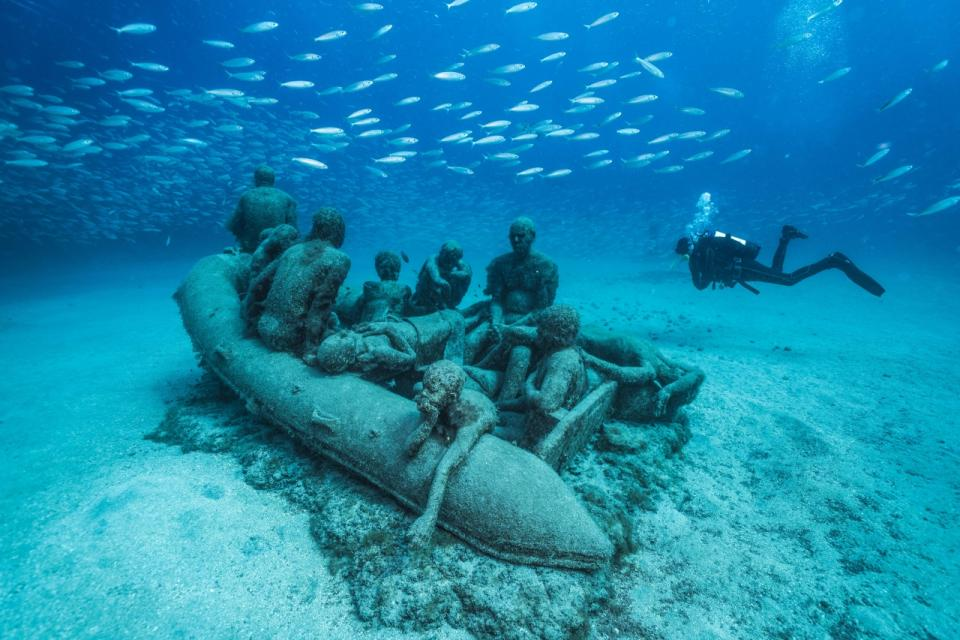 The Raft of Lampedusa, by Jason deCaires Taylor in Lanzarote, Spain