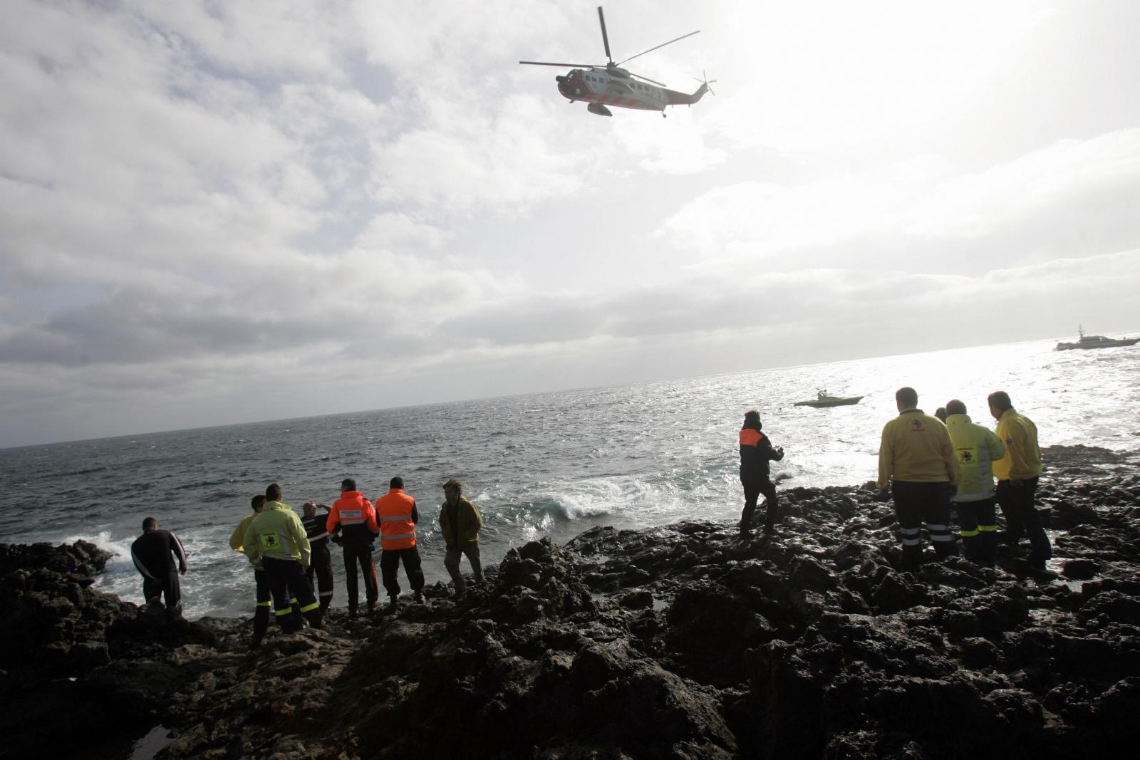 Rescue services patrol the Lanzarote coastline