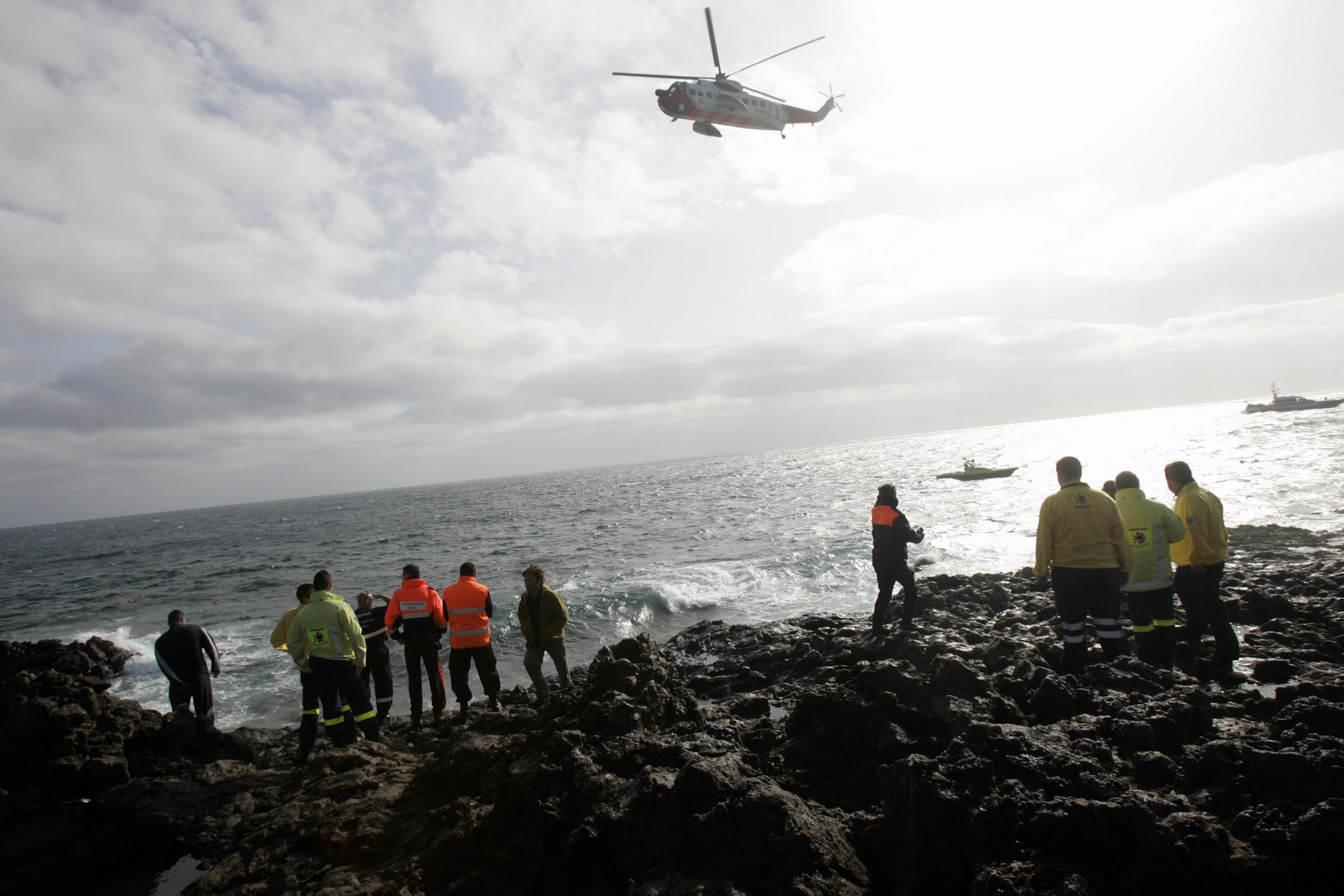 Rescue services patrol the Lanzarote coastline