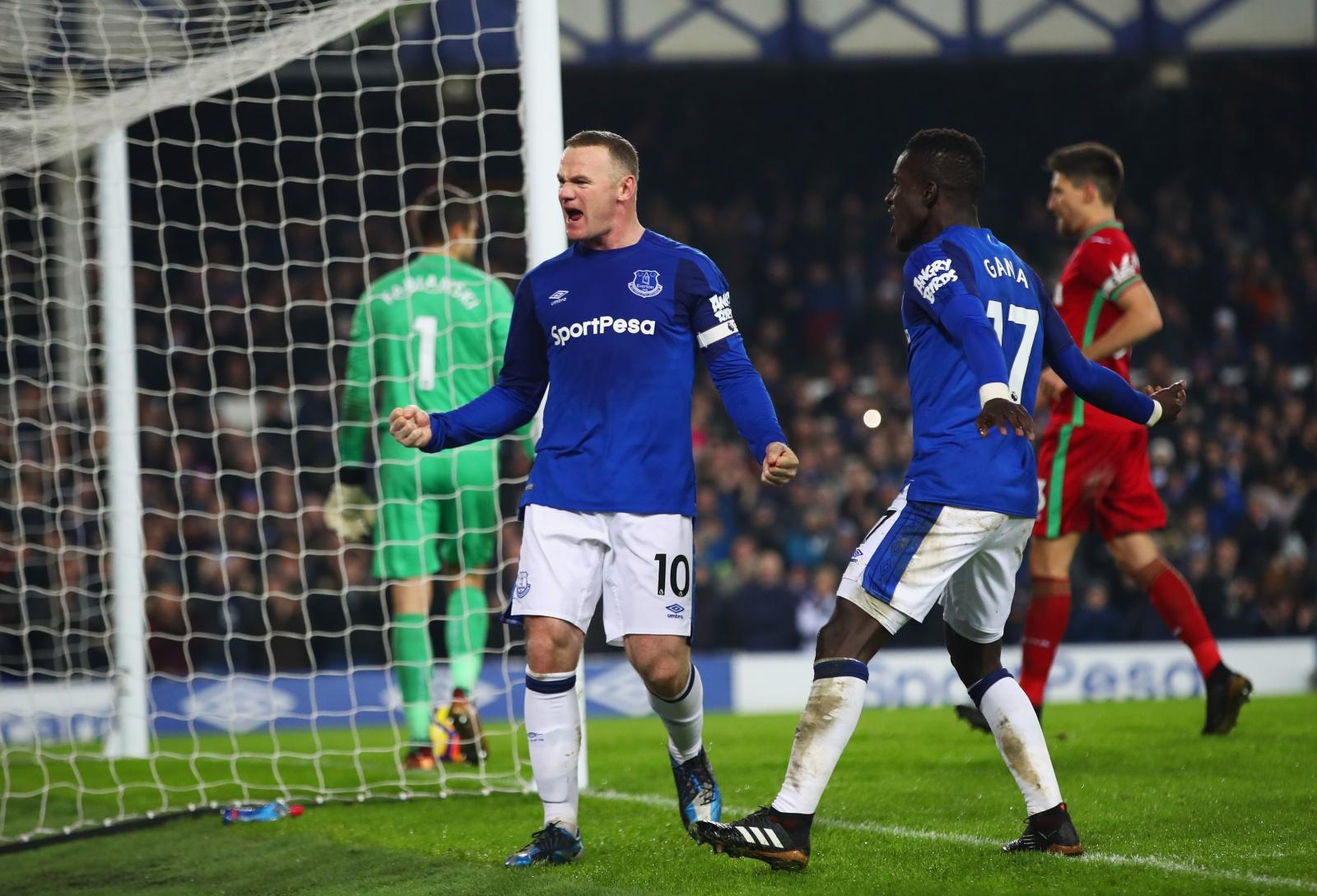 Wayne Rooney and Idrissa Gueye