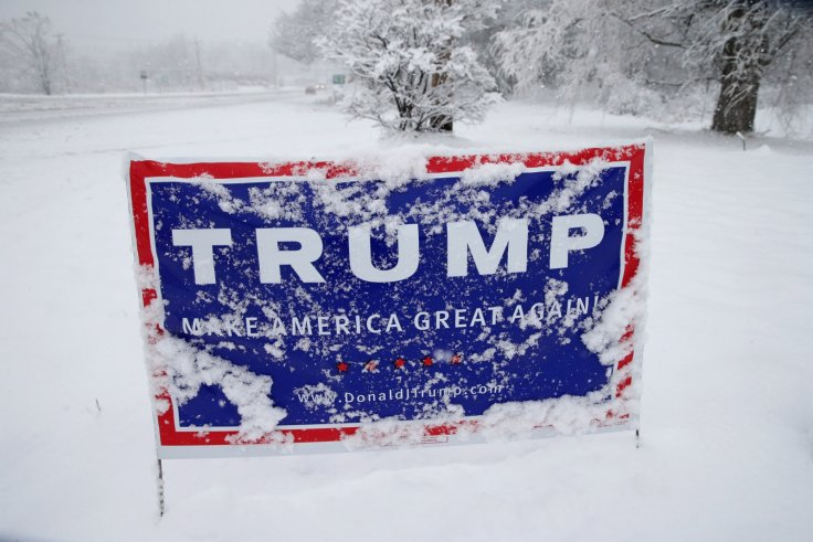 Trump sign in the snow