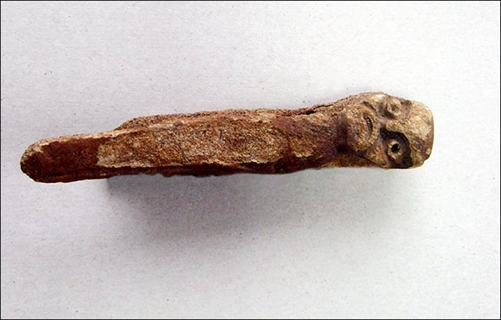 A Bronze Age figurine of a pagan god was hauled out of a Siberia's Dudet River by a fisherman in September 2016
