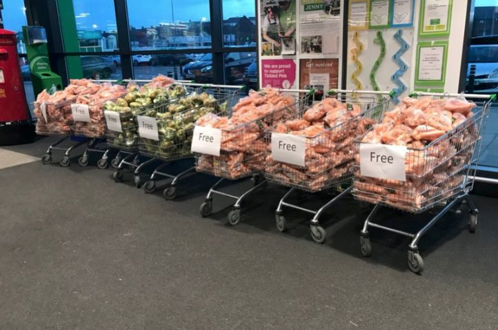 Asda store gives away free veg