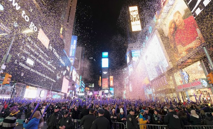 a scene from last years ball drop from new yorks times square dimitrios kambourisgetty images