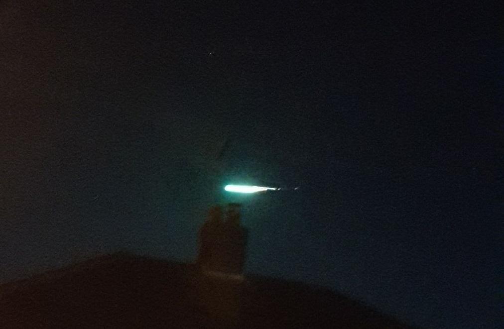 Green meteor over UK