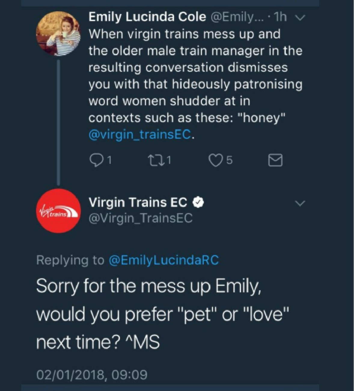 twitter exchange virgin trains