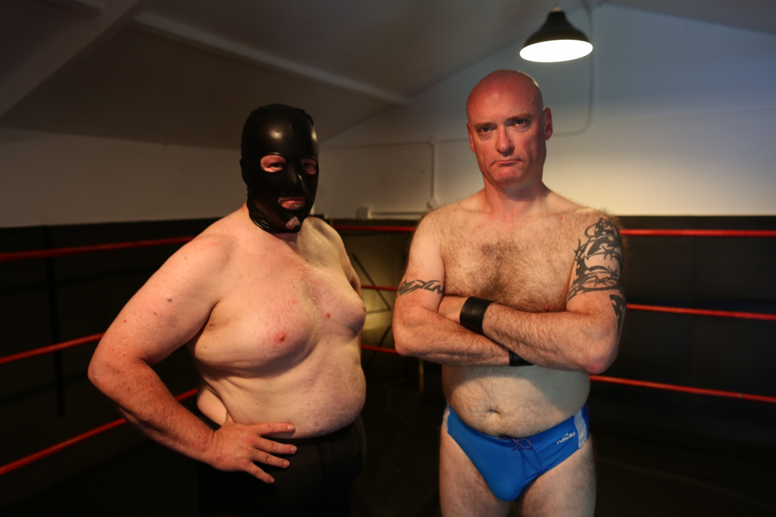 Fetish wrestlers in their fighting gear