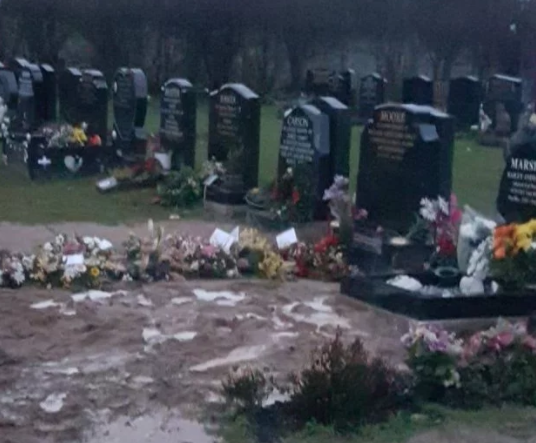 Mother trapped in son's grave