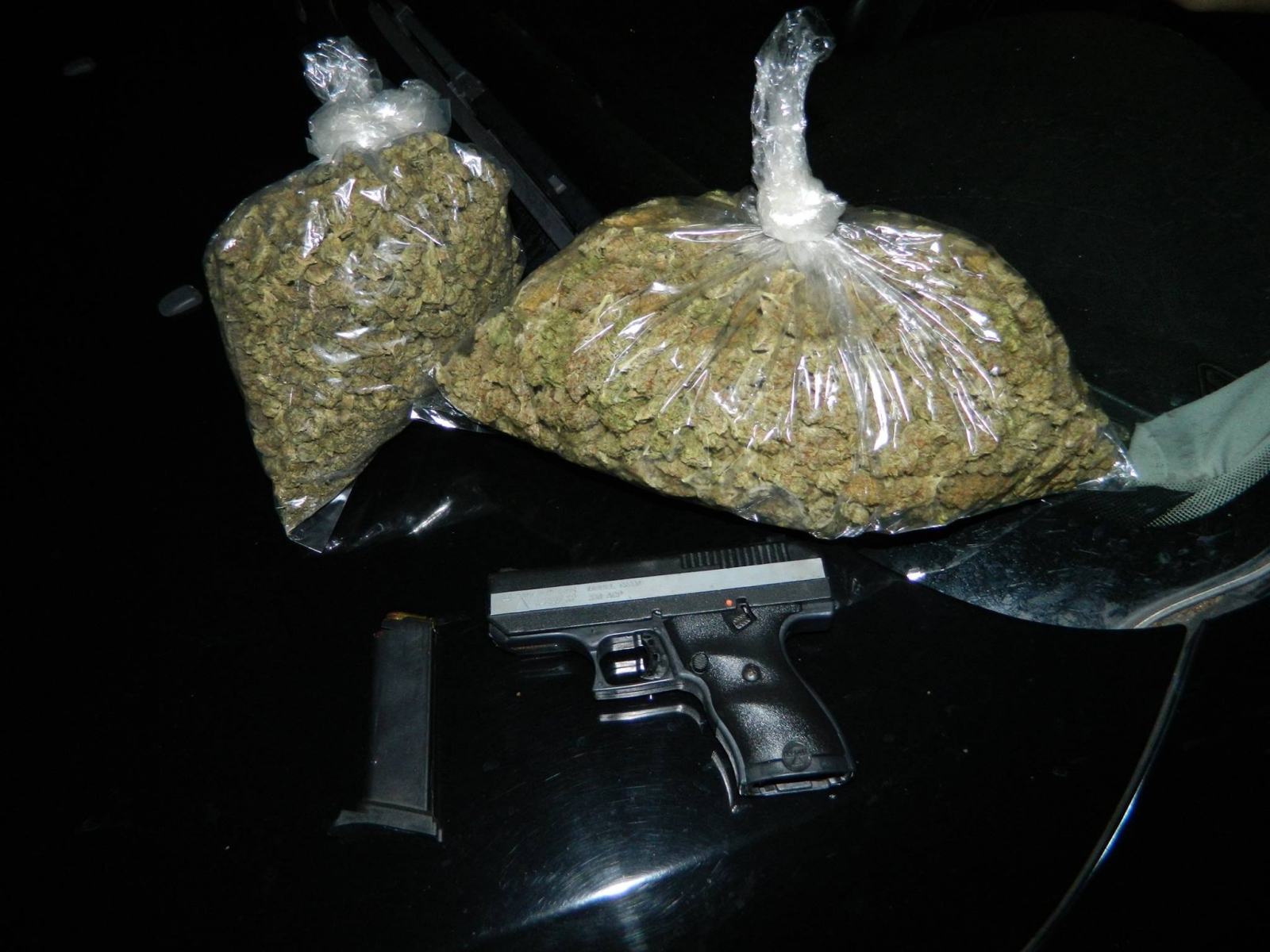 Marijuana and firearm found by police