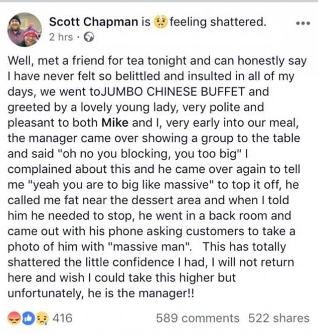 Chinese buffet Facebook post