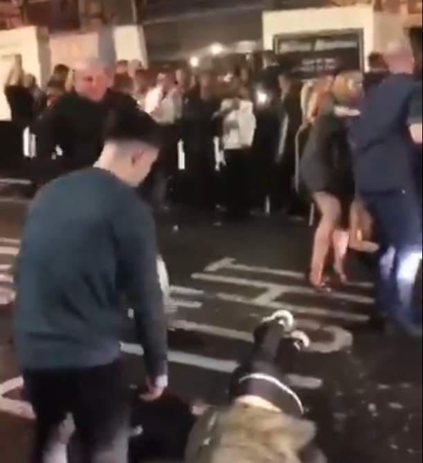 brawny nottingham bouncer knocks out man with a single punch to his head as bar fight turns violent