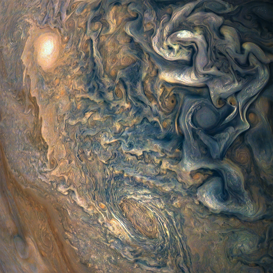 Colourful clouds swirling over Jupiter