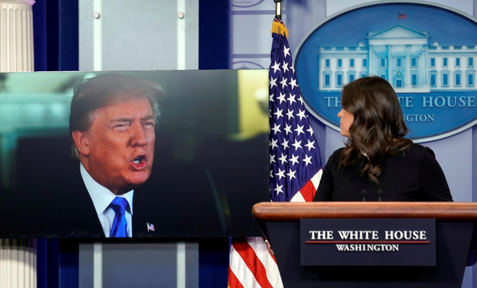 Donald Trump and Sarah Huckabee Sanders