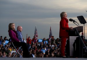 Gabrielle Giffords and husband with Hillary Clinton