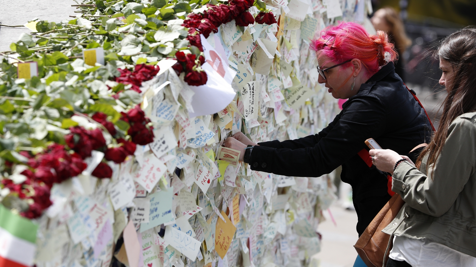 Well-wishers leave a message on London Bridge following the June terror attack last year