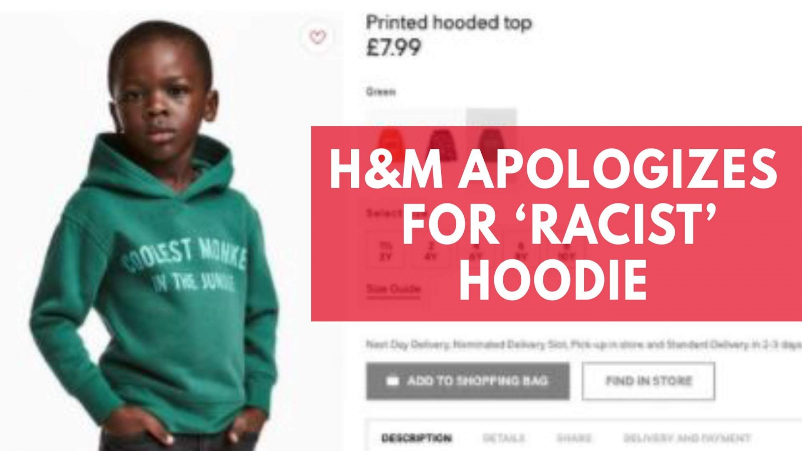H&M apologizes for racist hoodie after backlash