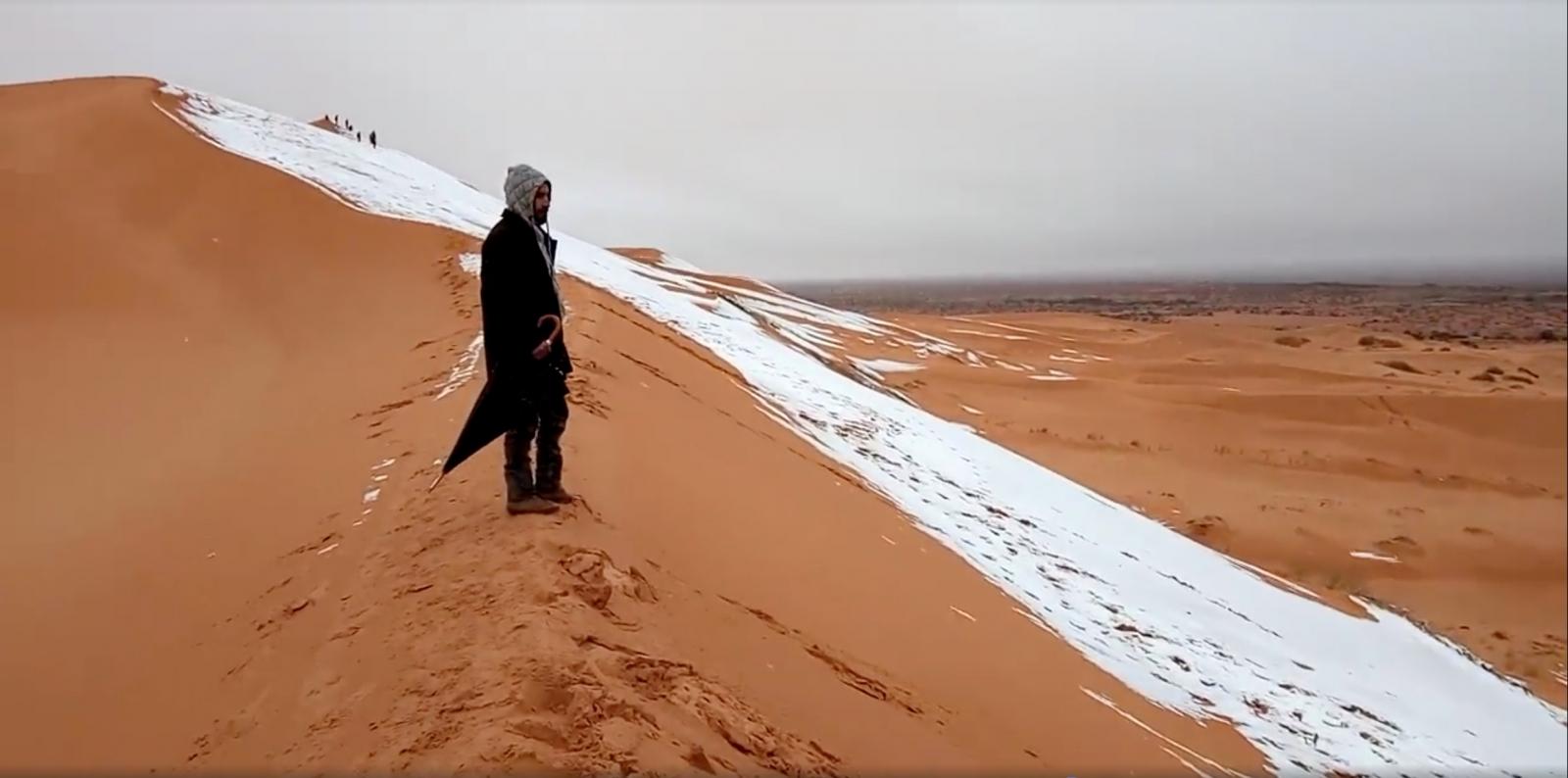 Snowfall in Sahara desert