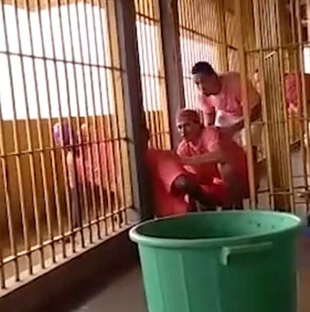 Eleven convicts were caught on film prising open their bars and breaking out of a jail in Brazil's