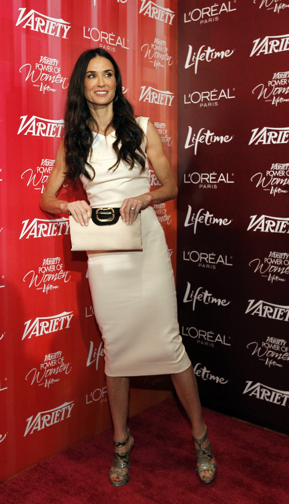 Moore poses at Varietys 3rd Annual Power of Women luncheon in Beverly Hills