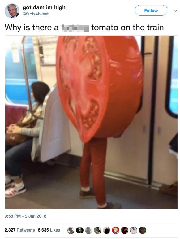 tomato on a train