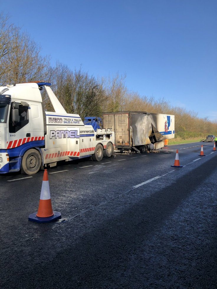 Aftermath of meat lorry fire